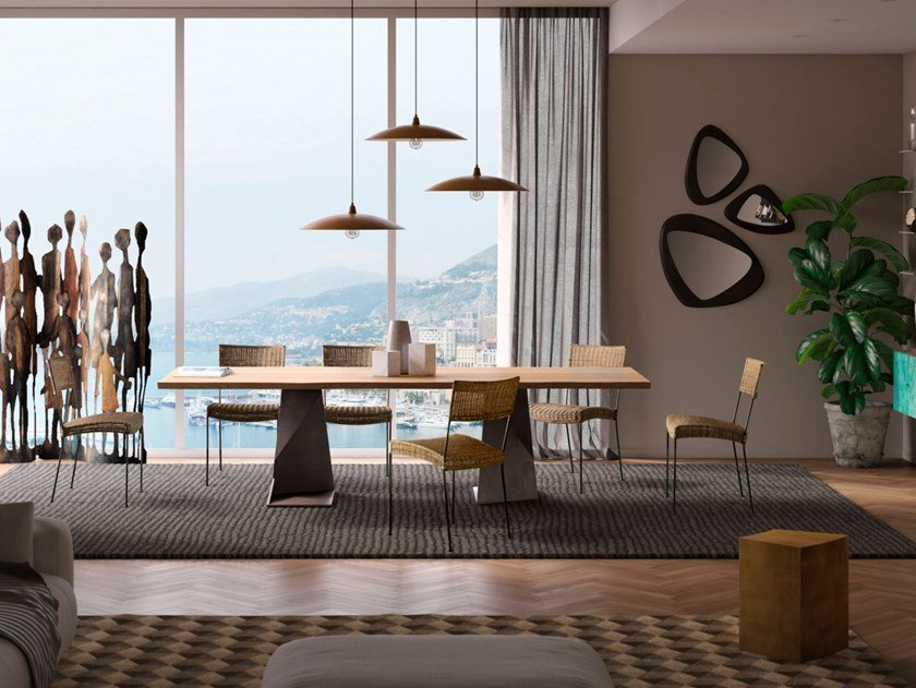 Tavolo con piano in legno massiccio e base in metallo TROG By ELITE ...