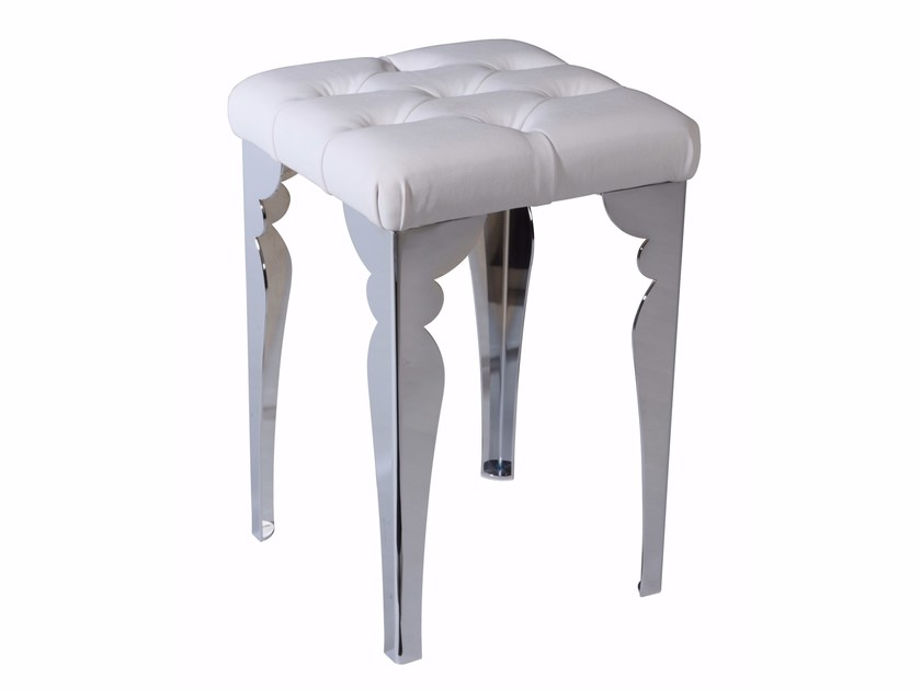Upholstered leather stool TRONO by LINEAG