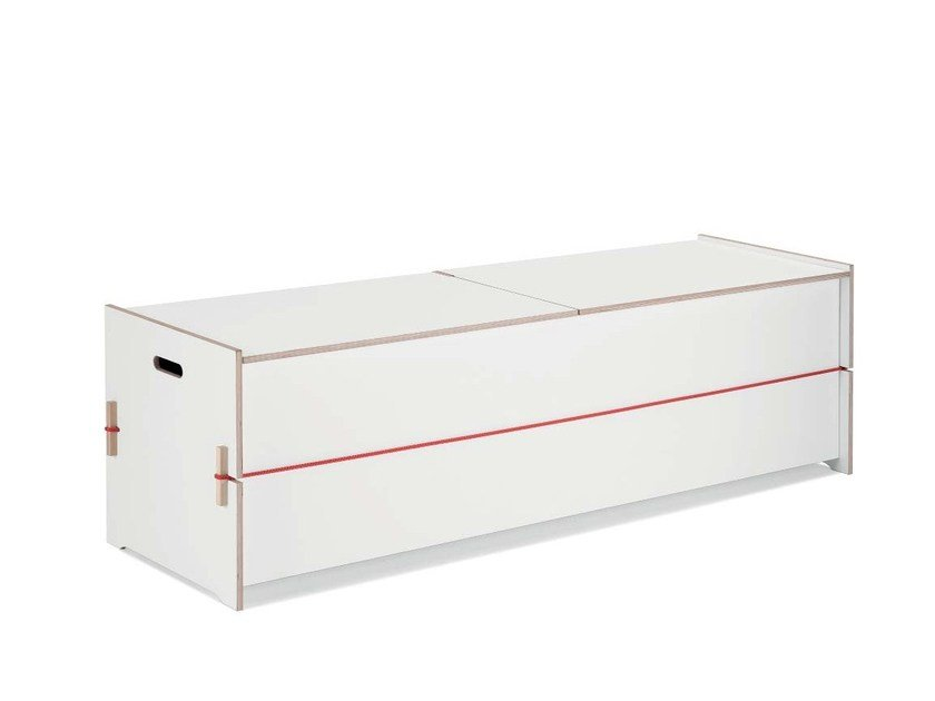 Lacquered plywood storage chest TRUDE by Nils Holger Moormann