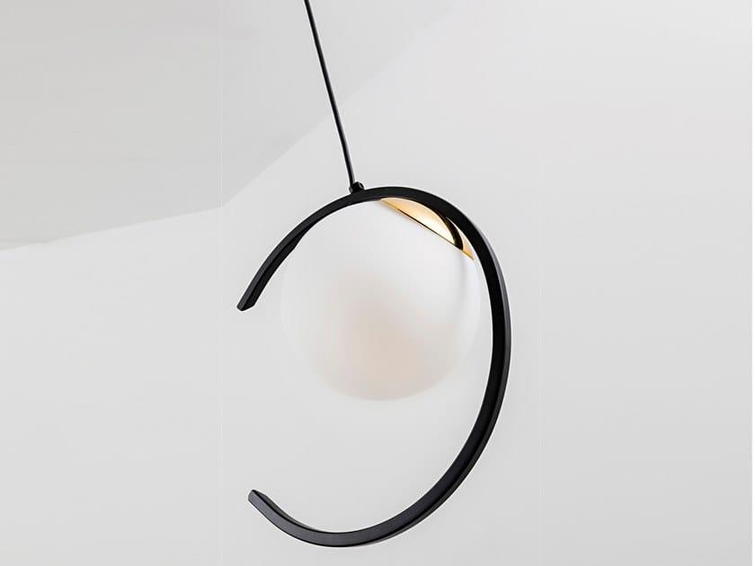 Lampada a sospensione a LED in vetro satinato TSUKI by Rossini Illuminazione
