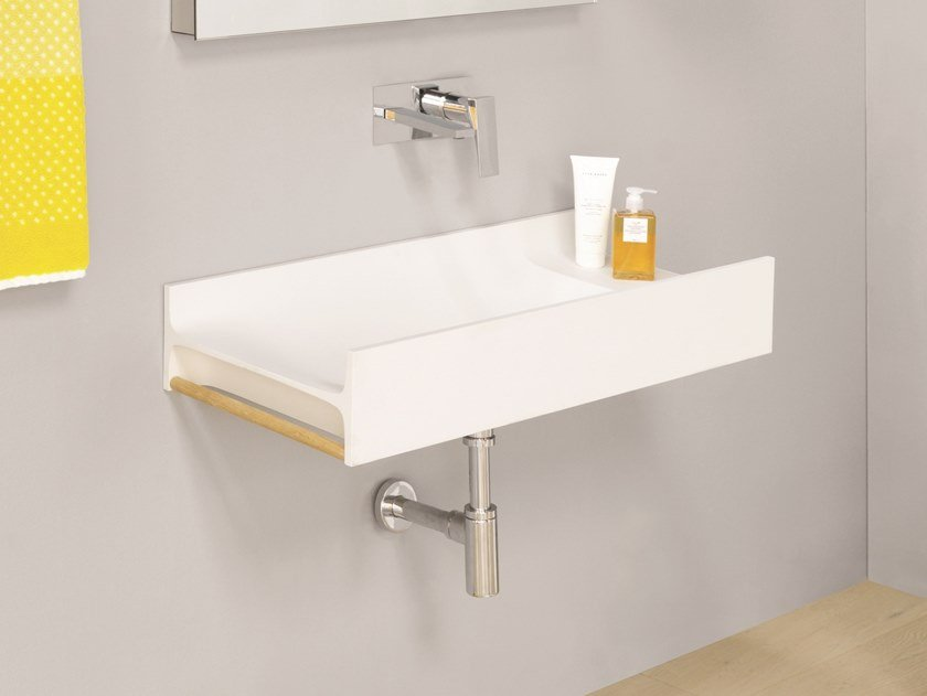 Wall-mounted Livingtec® washbasin with towel rail TT by Artceram