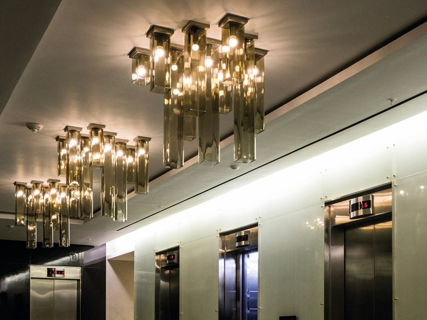 Blown glass ceiling lamp TUBES PL by Vetreria Vistosi