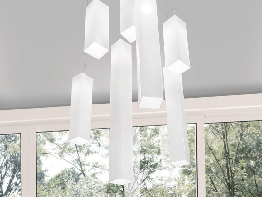 Blown glass pendant lamp TUBES SP by Vetreria Vistosi