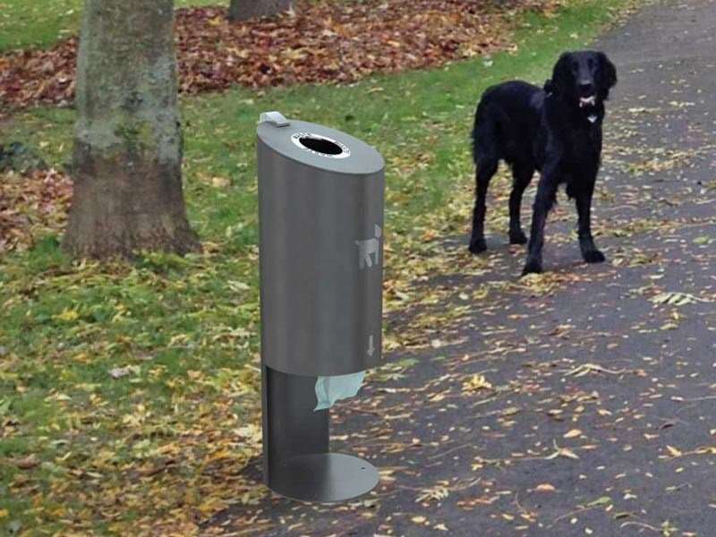 Stainless steel dog waste bin TUBO D by Tubo / ZZ Concept
