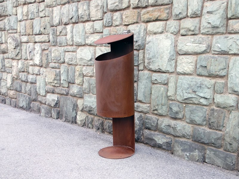 Outdoor stainless steel litter bin with lid TUBO K by Tubo / ZZ Concept