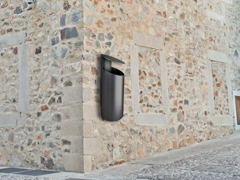 Wall-mounted outdoor stainless steel litter bin with lid TUBO KZ by Tubo / ZZ Concept