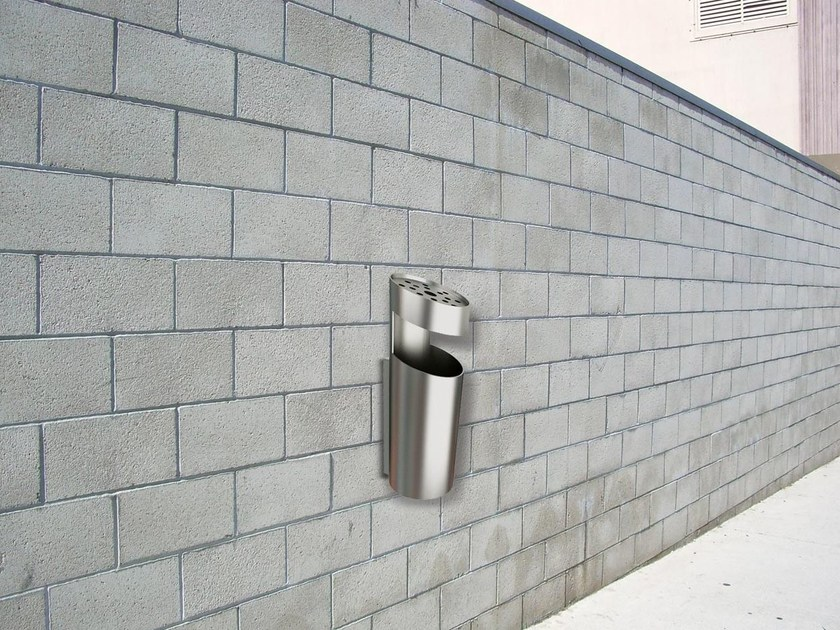 Wall-mounted steel litter bin with ashtray TUBO PKZ by Tubo / ZZ Concept