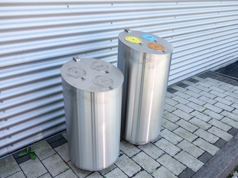Outdoor stainless steel litter bin for waste sorting TUBO R by Tubo / ZZ Concept