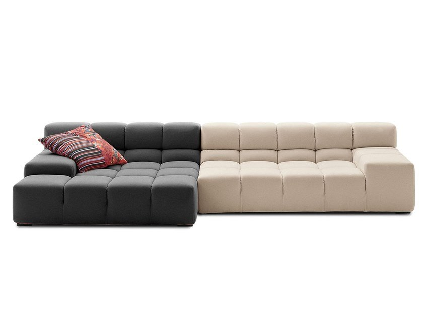 Sectional fabric sofa with chaise longue TUFTY TIME | Sofa with chaise longue by B&B Italia