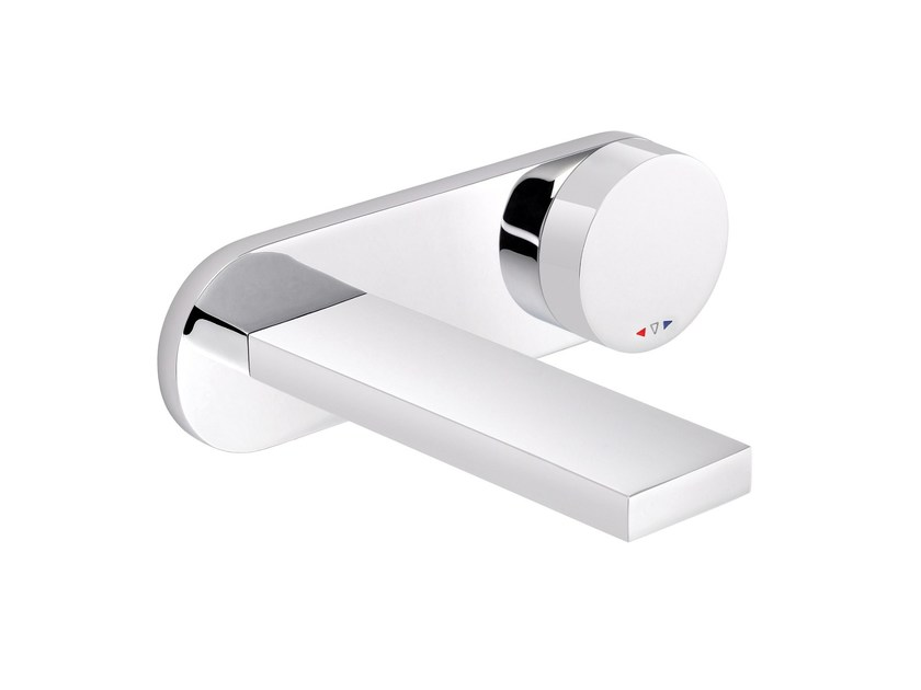 2 hole wall-mounted washbasin mixer with plate TUNE | Washbasin mixer with plate by rvb