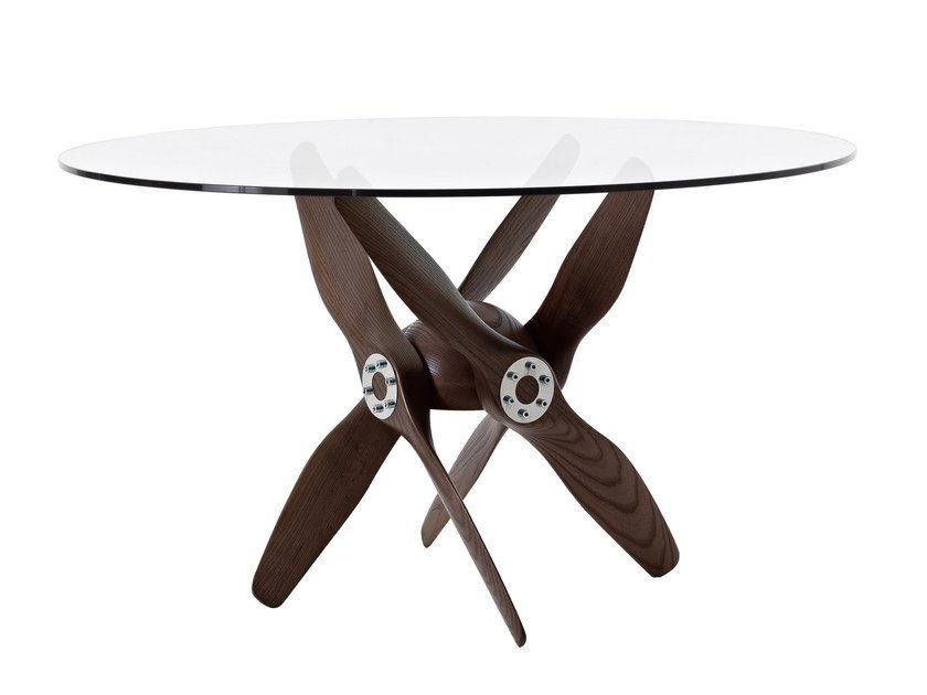 Height-adjustable round wood and glass table TUPOLEV by Colico