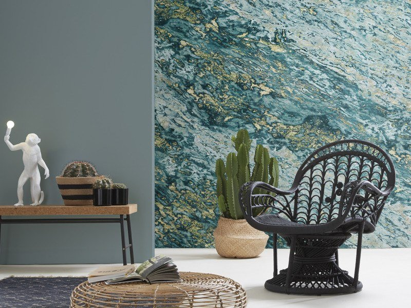Washable panoramic wallpaper with marble effect TURQUOISE & GOLD SARRANCOLIN MARBLE   Panoramic wallpaper by Koziel