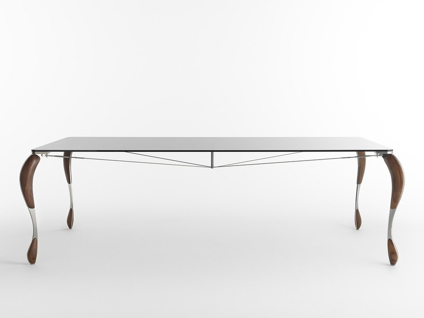 Rectangular Glass and Stainless Steel table TUTÙ by Casamania & Horm