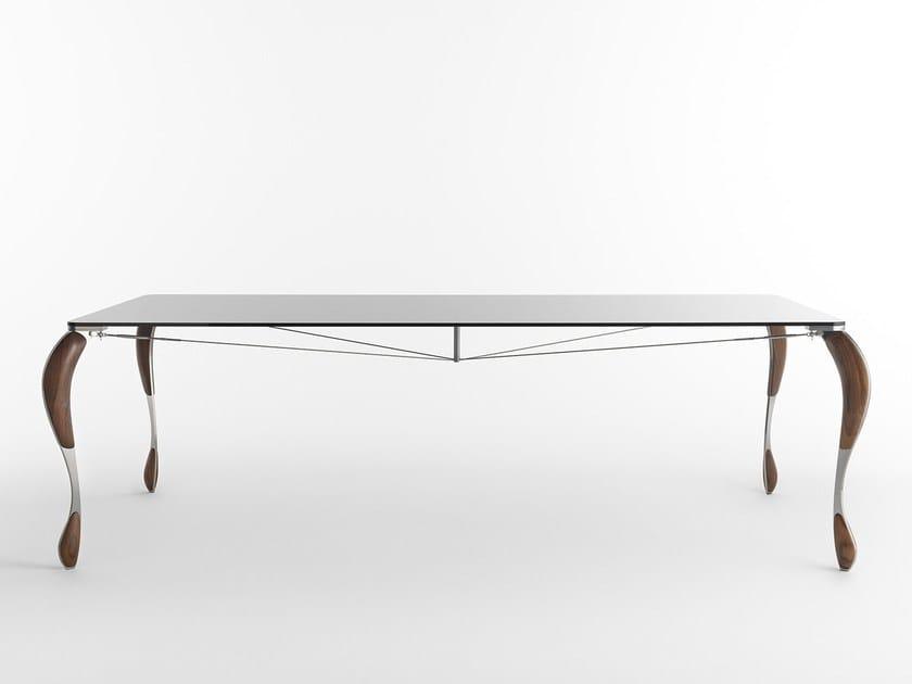 Tavolo rettangolare in acciaio inox e vetro tutÙ by casamania & horm