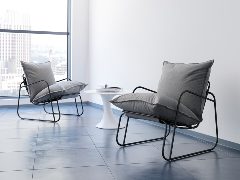 Sled base fabric armchair with armrests TUTTU by MZPA