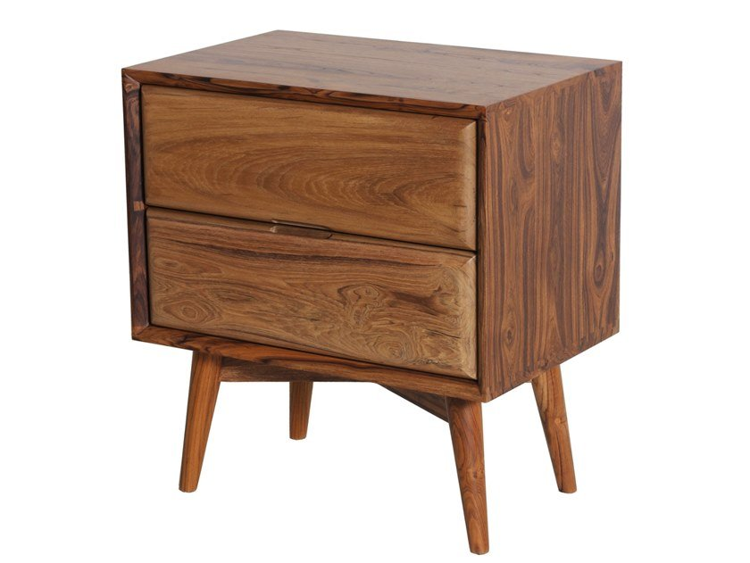 Teak bedside table with drawers TWEE by ALANKARAM