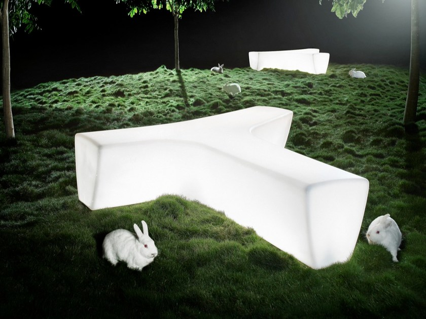 Modular polyethylene garden bench with light TWIG | Bench with light by Derlot Editions