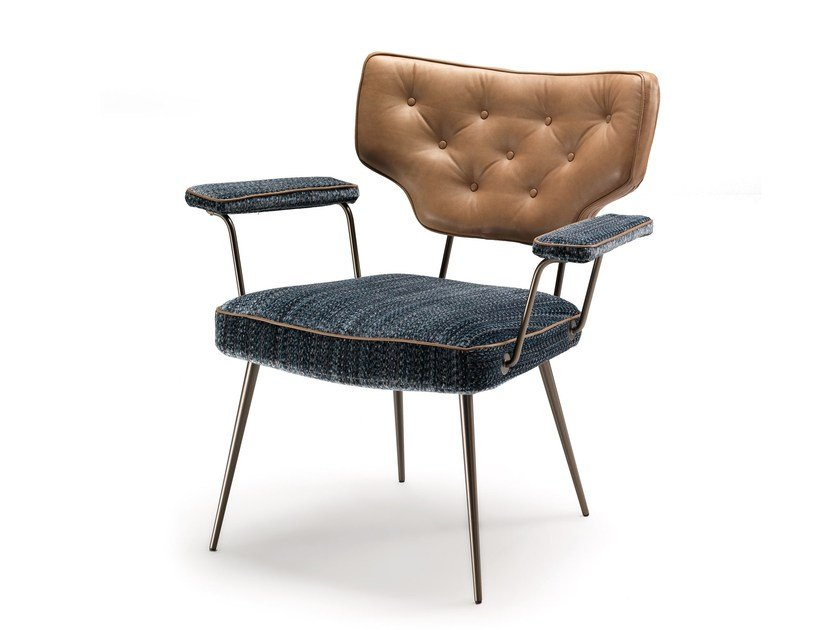 Upholstered chair with armrests TWIGGY by Arketipo