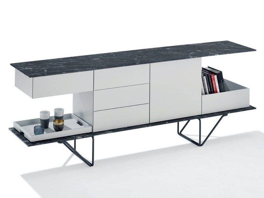 Sideboard with doors with drawers TWIN by Draenert