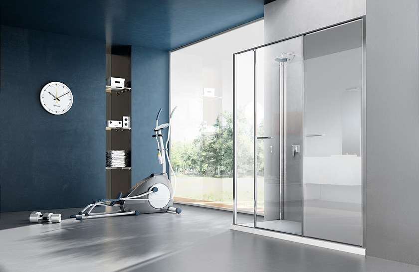 Shower cabin with storage container TWIN T15 by VISMARAVETRO