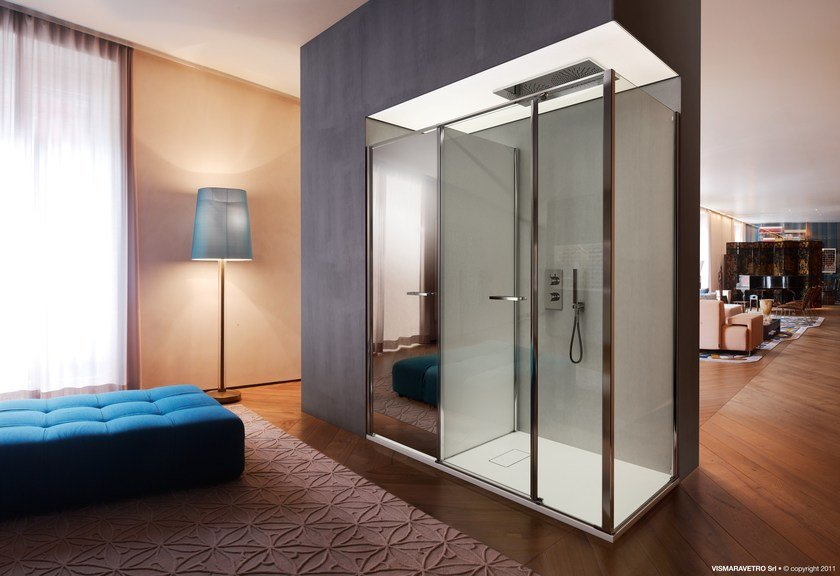 Niche shower cabin with storage container TWIN T40 by VISMARAVETRO