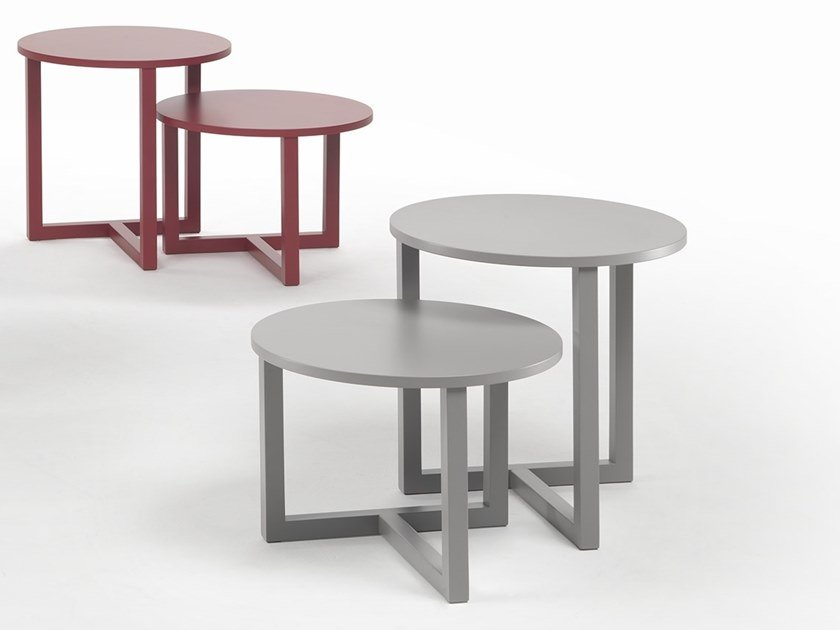 Lacquered round oak coffee table TWINS | Coffee table by Marelli