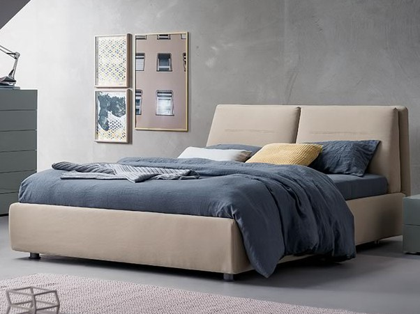 Fabric double bed with upholstered headboard TWIST by Dall'Agnese