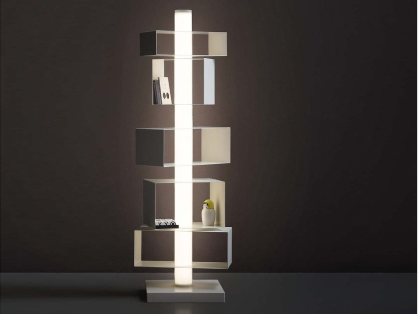 Swivel bookcase with built-in lights TWIST&LIGHT by Natevo