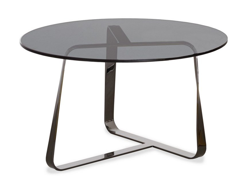 Round crystal and steel coffee table TWISTER | Round coffee table by Desalto