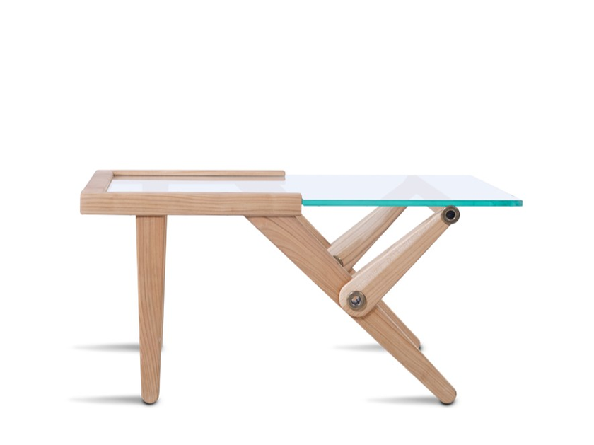 Wood and glass coffee table TY by HOOKL und STOOL