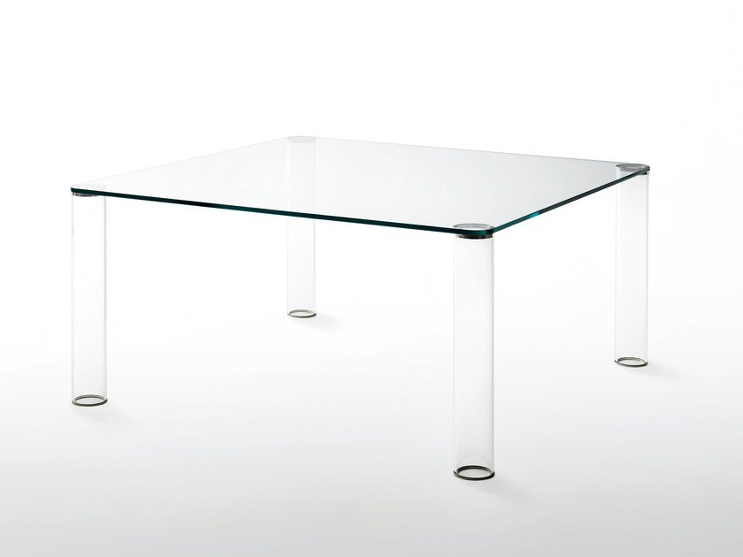 Square crystal table PIPELINE   Table by Glas Italia