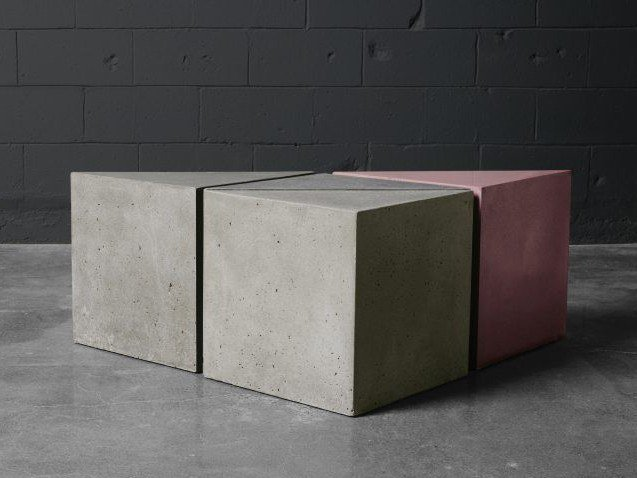 Concrete stool / coffee table Triangular coffee table by AtelierB