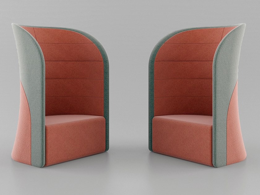 Acoustic high-back fabric armchair with castors U-POINT   High-back armchair by MZPA