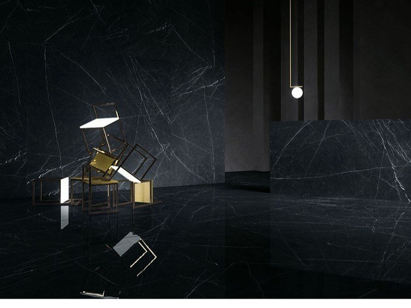 Porcelain stoneware wall/floor tiles with marble effect ULTRA MARMI - NERO MARQUINIA by ARIOSTEA