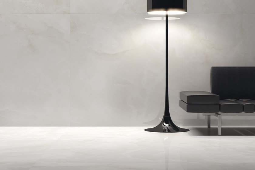 Indoor/outdoor porcelain stoneware wall/floor tiles with marble effect ULTRA ONICI │ BIANCO EXTRA by ARIOSTEA