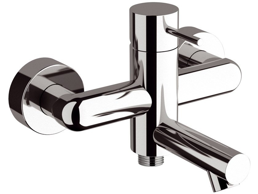 2 hole wall-mounted single handle brass bathtub mixer ULTRAMINIMAL | Wall-mounted bathtub mixer by Rubinetterie Mariani