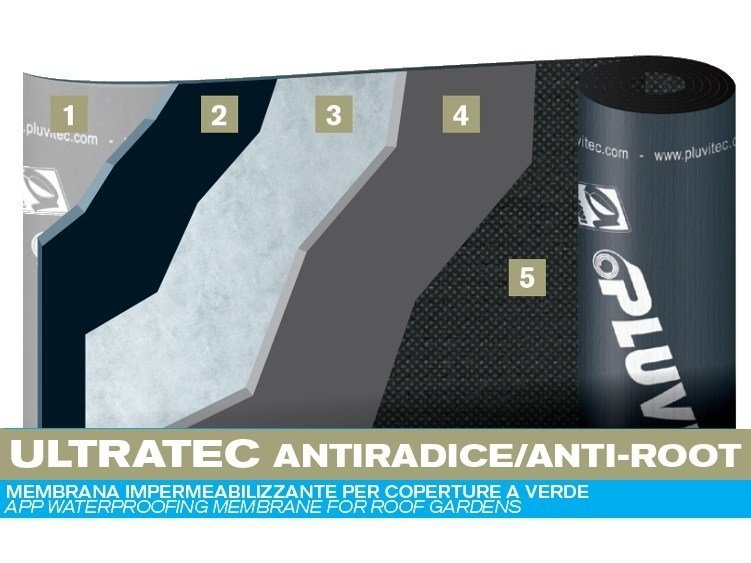 Prefabricated bituminous membrane ULTRATEC ANTI-ROOT by PLUVITEC