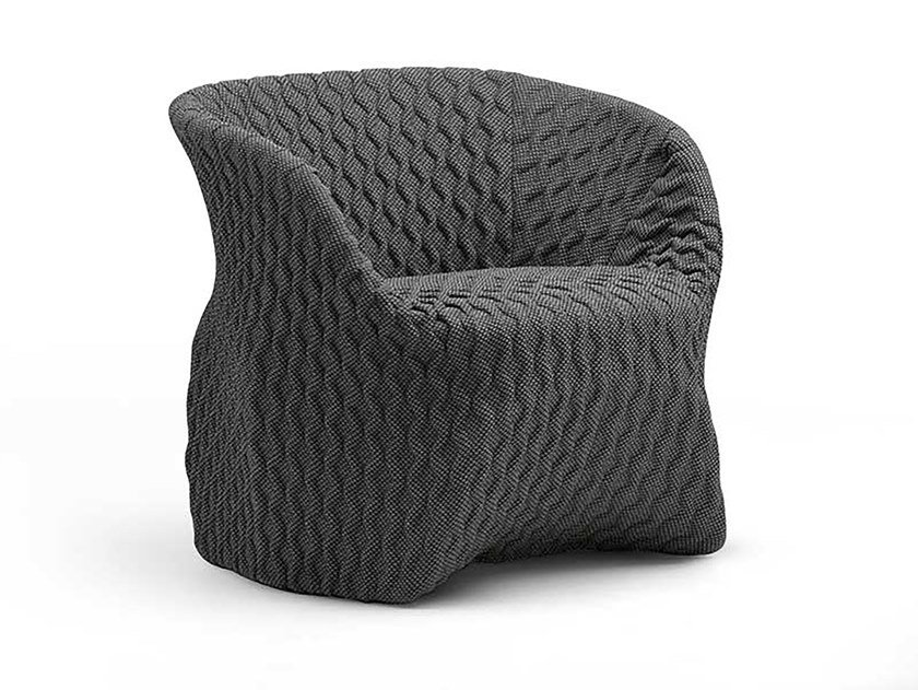 Fabric armchair with removable cover with armrests UMA by Busnelli