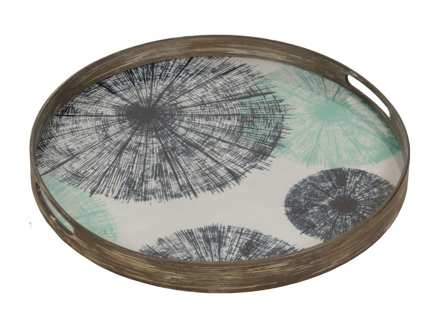 Round wood and glass tray UMBRELLAS by Notre Monde