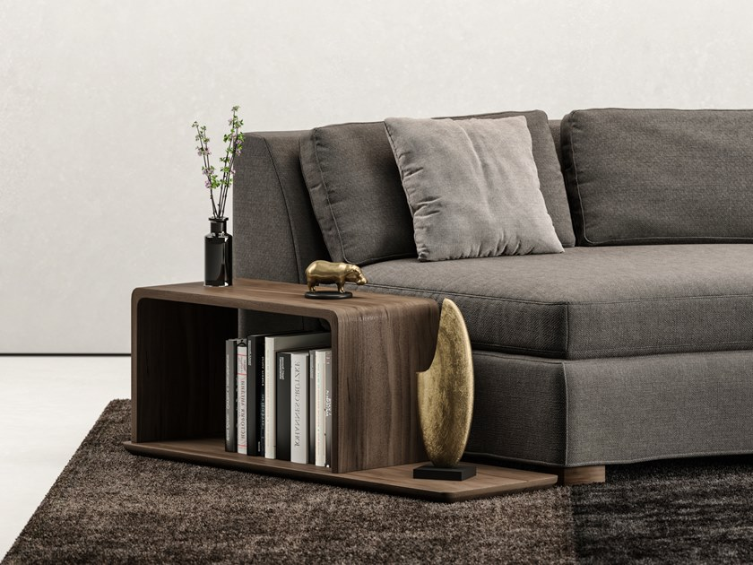Walnut side table with integrated magazine rack UN.IT by DE.CI