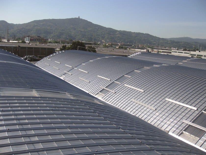 Insulated metal panel for roof UNI 1000 CURVO ACCIAIO by UNIMETAL