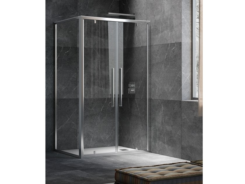 Corner shower cabin with hinged door UNICO B2+F4 by RELAX