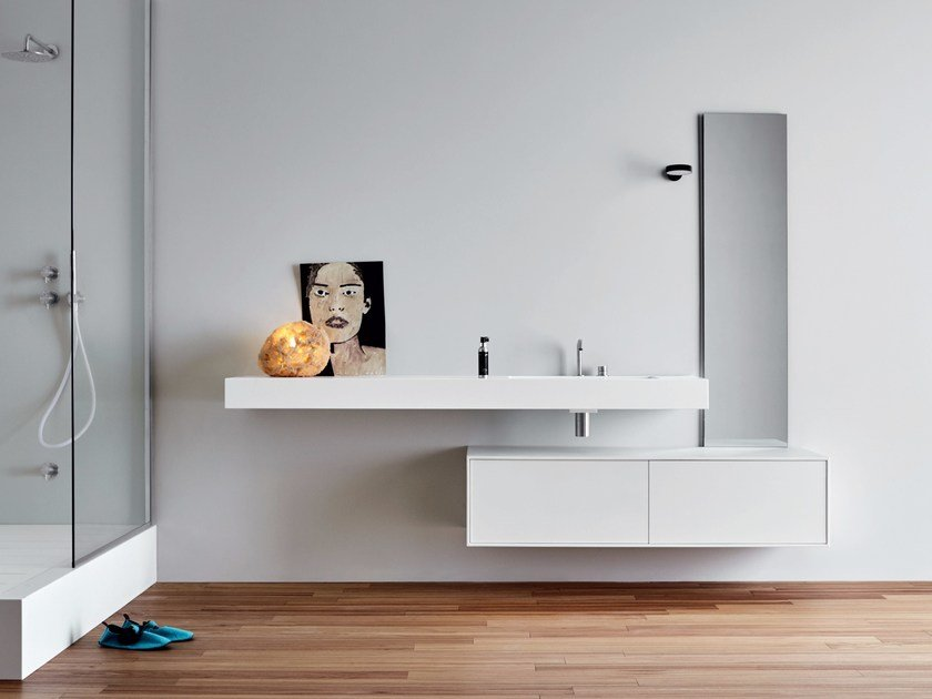 Corian® bathroom cabinet with drawers UNICO | Bathroom cabinet by Rexa Design