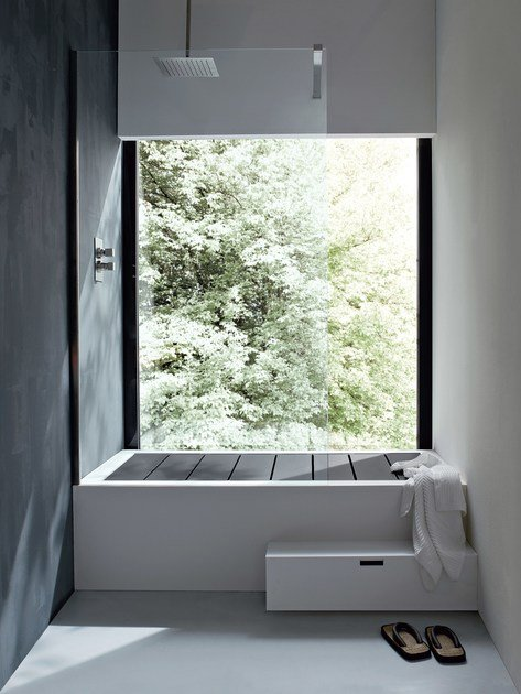 Vasca da bagno rettangolare in Corian® con doccia UNICO | Vasca da ...
