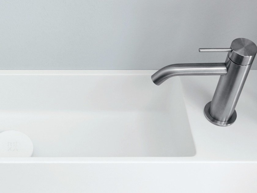 Rectangular wall-mounted Corian® handrinse basin UNICO | Handrinse basin by Rexa Design