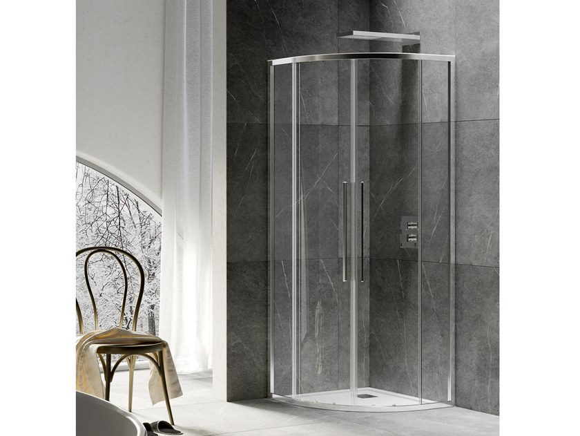 Semicircular shower cabin with sliding door UNICO R2-S by RELAX