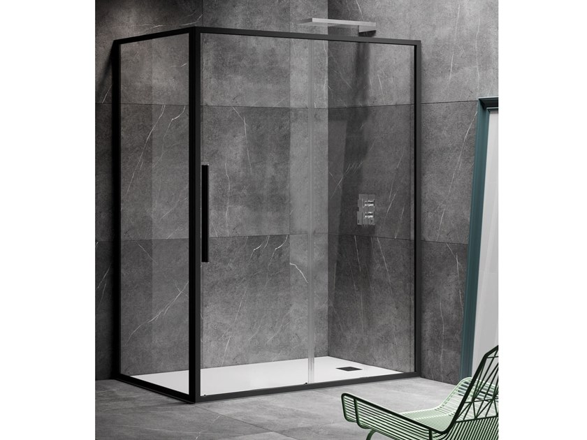 Corner shower cabin with sliding door UNICO SC1+F1 by RELAX