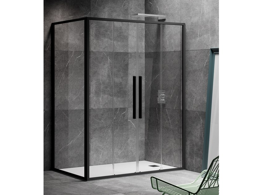Corner shower cabin with sliding door UNICO SC2+F1 by RELAX