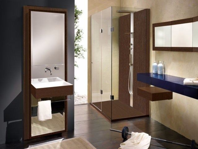 Single wooden vanity unit with mirror UNICO | Vanity unit by CARMENTA