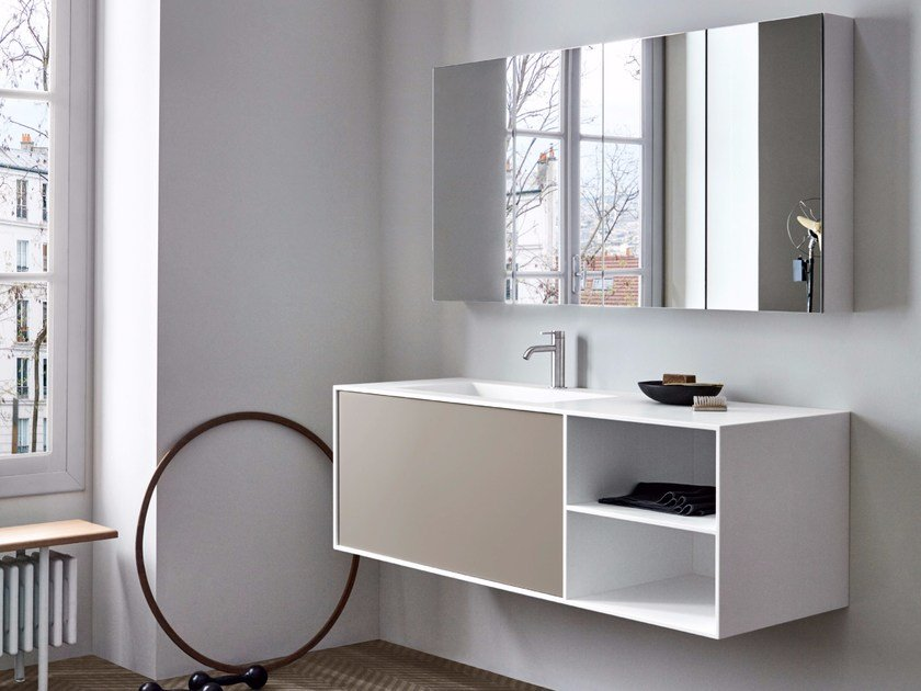 Wall-mounted Corian® vanity unit with drawers UNICO | Wall-mounted vanity unit by Rexa Design